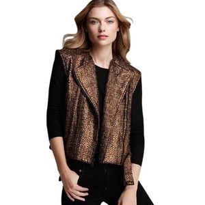 Alice + Olivia Gold Tweed Asymmetrical Moto Vest